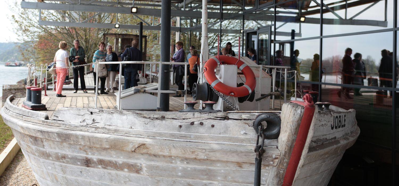 gribane de Seine exposée à MuséoSeine, le musée de la Seine normande à Caudebec-en-Caux, Rives-en-Seine